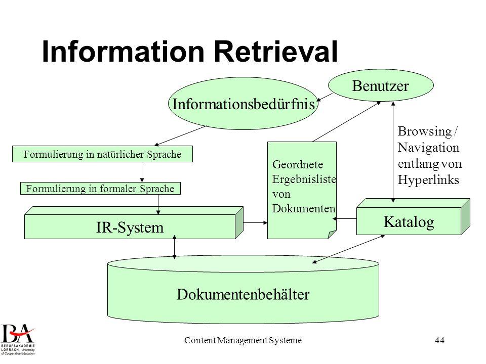 Content Management Systeme44 Information Retrieval Informationsbedürfnis Formulierung in natürlicher Sprache Formulierung in formaler Sprache Dokument