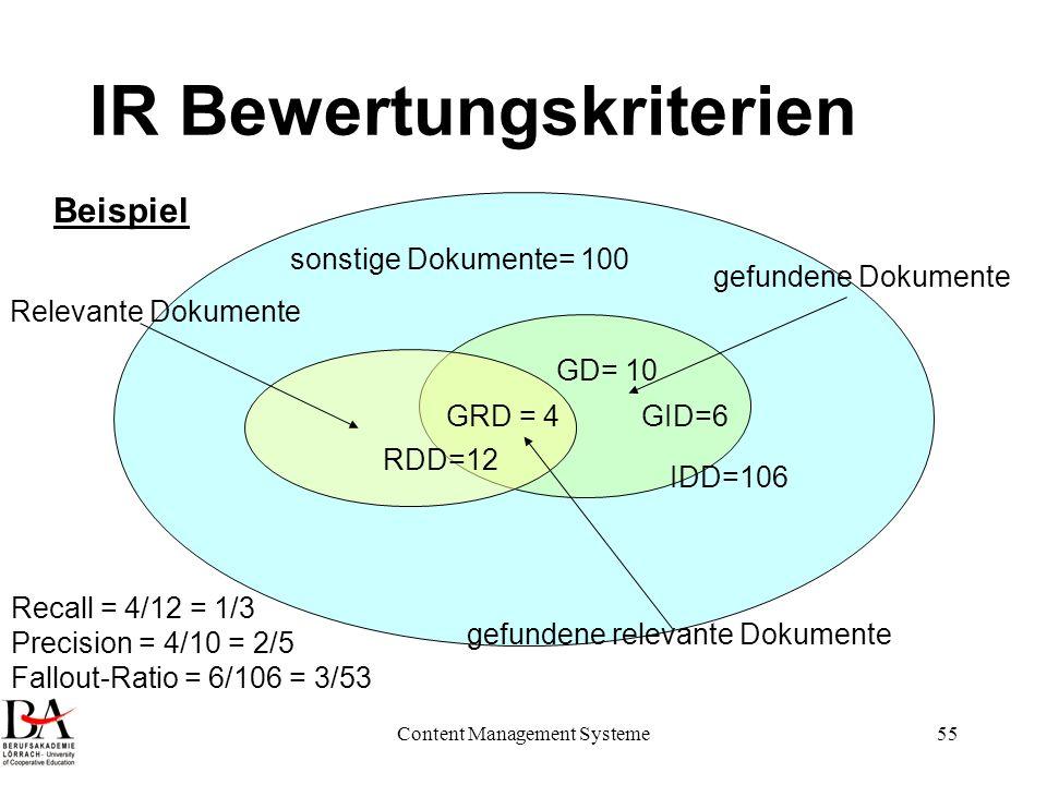 Content Management Systeme55 IR Bewertungskriterien sonstige Dokumente= 100 IDD=106 GID=6 GD= 10 GRD = 4 RDD=12 Recall = 4/12 = 1/3 Precision = 4/10 =
