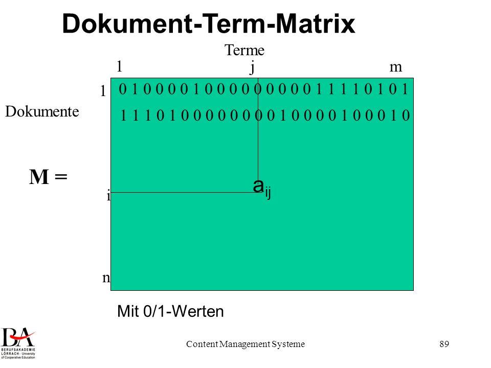 Content Management Systeme89 a ij Terme Dokumente Dokument-Term-Matrix 1m 1 n i j 0 1 0 0 0 0 1 0 0 0 0 0 0 0 0 0 1 1 1 1 0 1 0 1 1 1 1 0 1 0 0 0 0 0