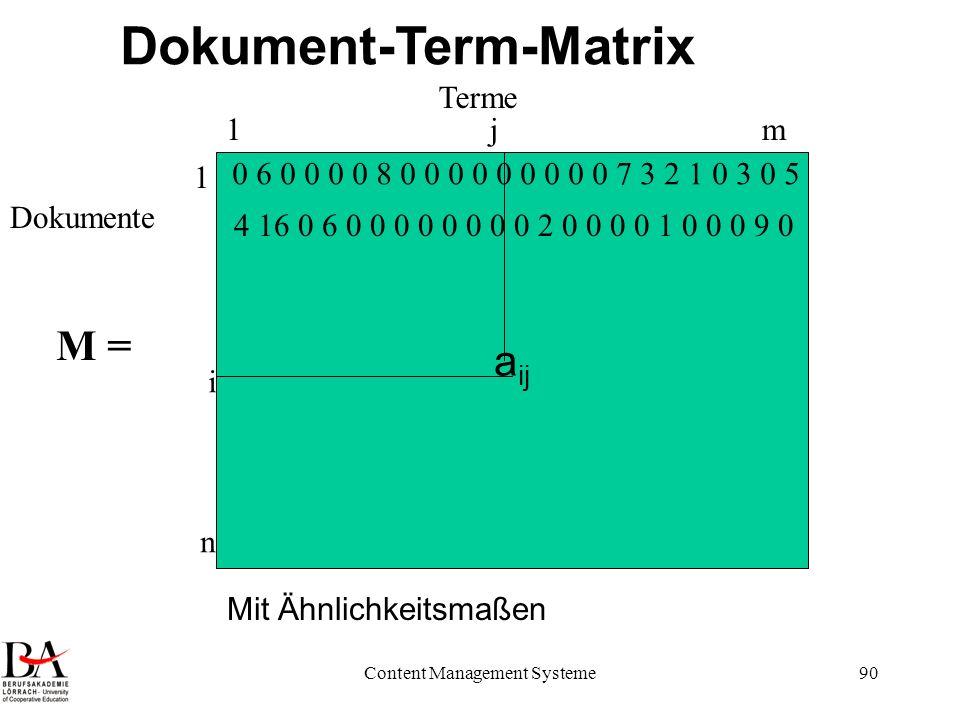 Content Management Systeme90 a ij Terme Dokumente Dokument-Term-Matrix 1m 1 n i j 0 6 0 0 0 0 8 0 0 0 0 0 0 0 0 0 7 3 2 1 0 3 0 5 4 16 0 6 0 0 0 0 0 0