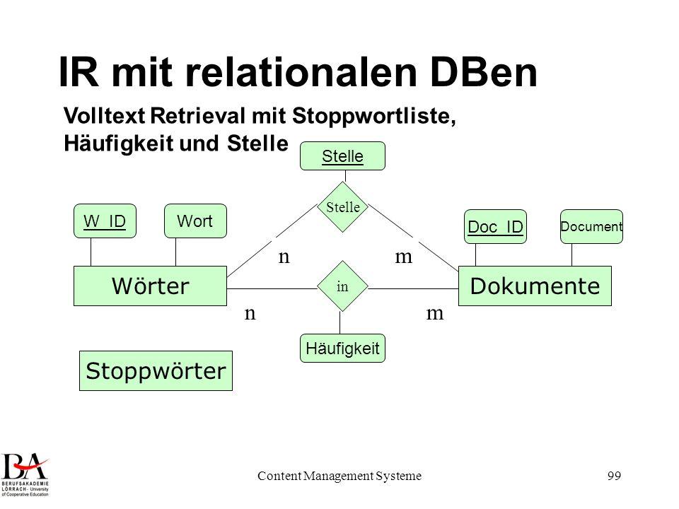 Content Management Systeme99 IR mit relationalen DBen DokumenteWörter in nm Doc_ID Document W_IDWort Volltext Retrieval mit Stoppwortliste, Häufigkeit