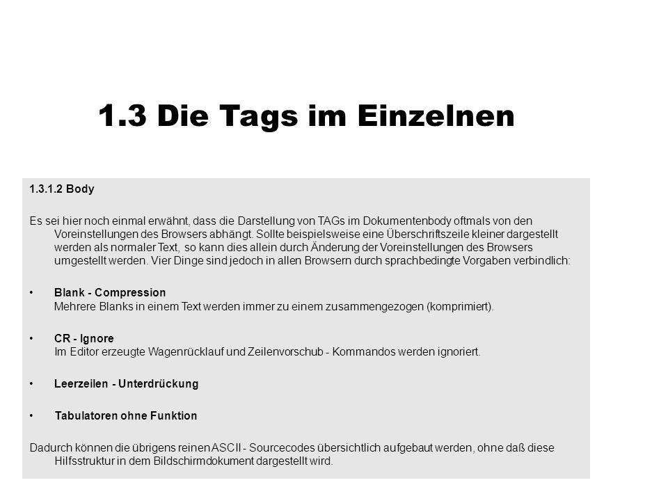 1.3 Die Tags im Einzelnen 1.3.1.2 Body Es sei hier noch einmal erwähnt, dass die Darstellung von TAGs im Dokumentenbody oftmals von den Voreinstellung