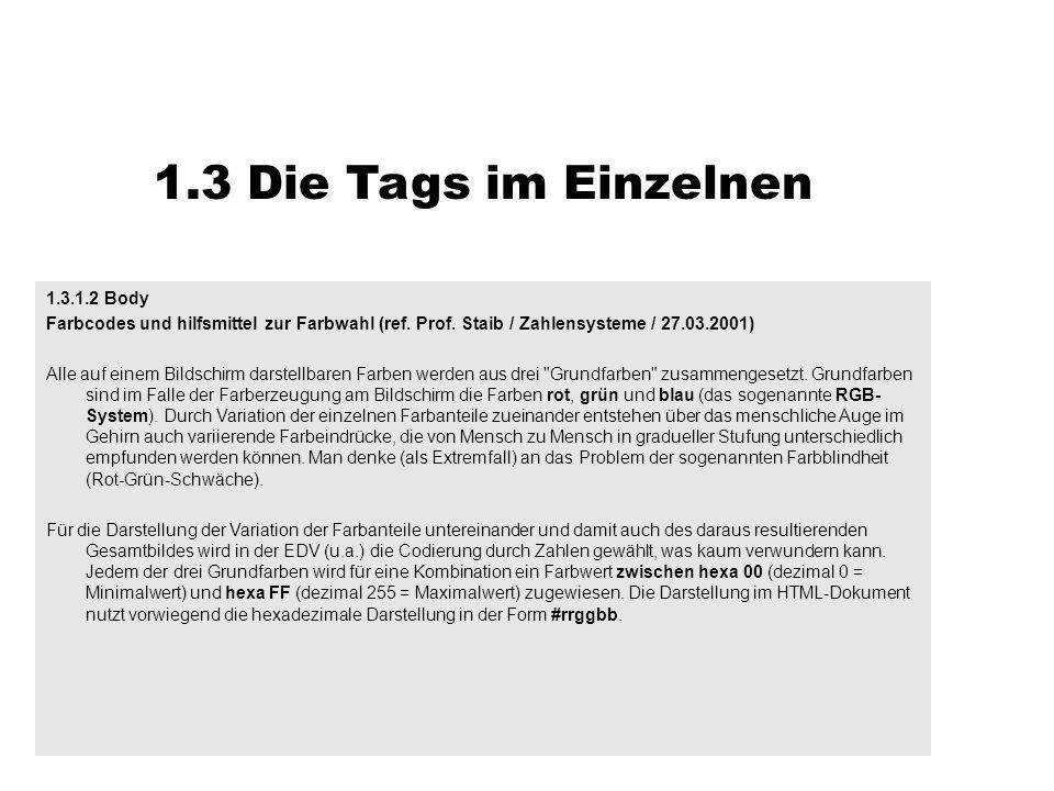 1.3 Die Tags im Einzelnen 1.3.1.2 Body Farbcodes und hilfsmittel zur Farbwahl (ref. Prof. Staib / Zahlensysteme / 27.03.2001) Alle auf einem Bildschir