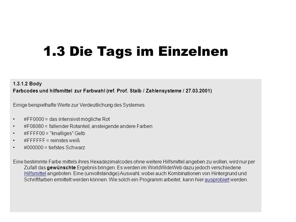 1.3 Die Tags im Einzelnen 1.3.1.2 Body Farbcodes und hilfsmittel zur Farbwahl (ref. Prof. Staib / Zahlensysteme / 27.03.2001) Einige beispielhafte Wer