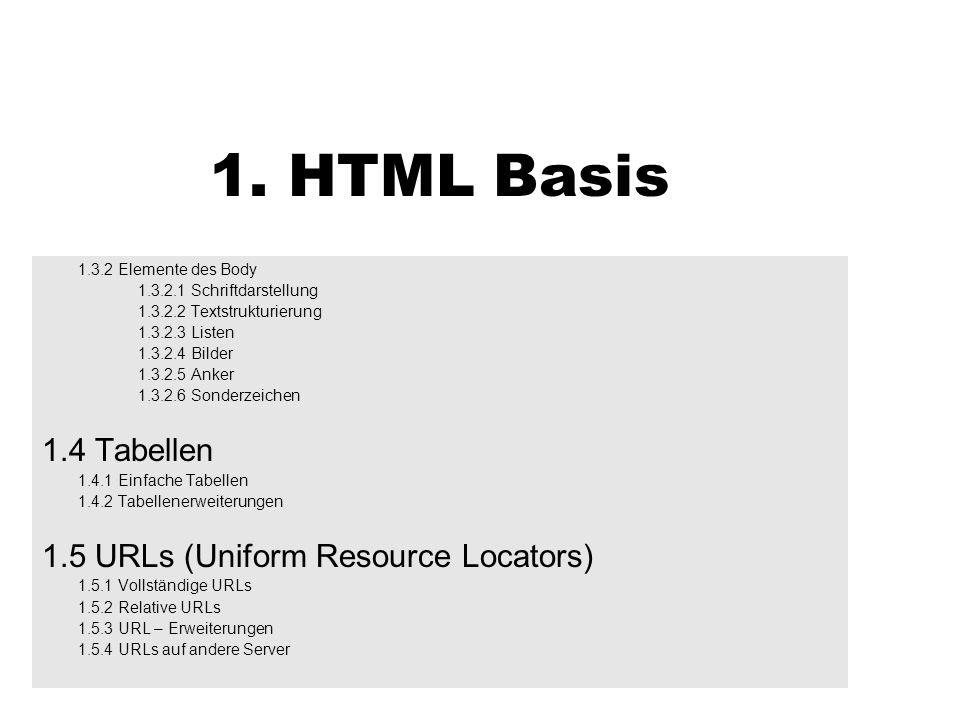1. HTML Basis 1.3.2 Elemente des Body 1.3.2.1 Schriftdarstellung 1.3.2.2 Textstrukturierung 1.3.2.3 Listen 1.3.2.4 Bilder 1.3.2.5 Anker 1.3.2.6 Sonder