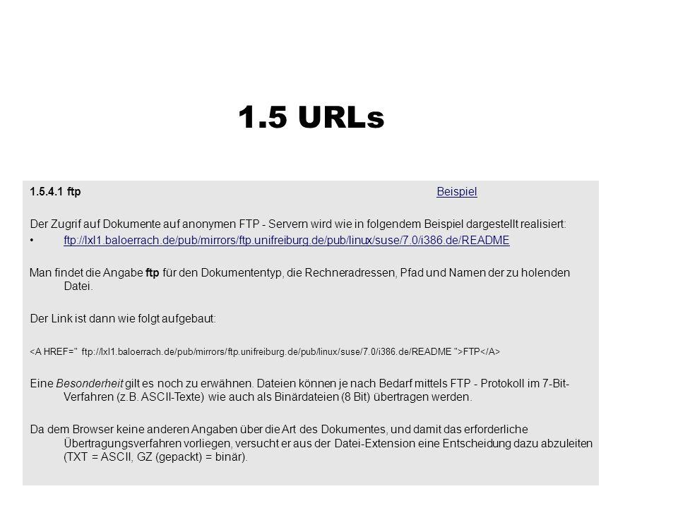 1.5.4.1 ftpBeispielBeispiel Der Zugrif auf Dokumente auf anonymen FTP - Servern wird wie in folgendem Beispiel dargestellt realisiert: ftp://lxl1.bal