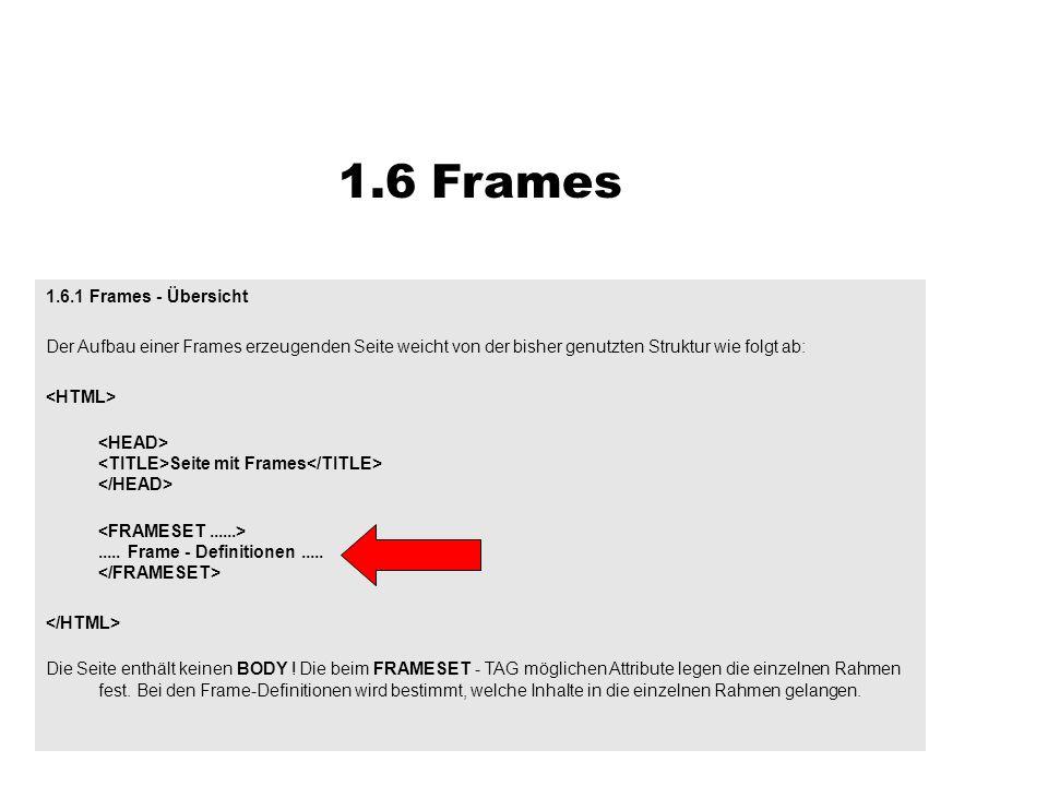 1.6.1 Frames - Übersicht Der Aufbau einer Frames erzeugenden Seite weicht von der bisher genutzten Struktur wie folgt ab: Seite mit Frames..... Frame