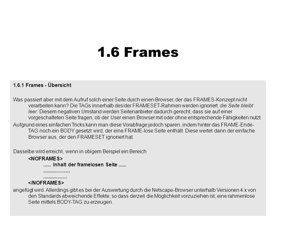 1.6.1 Frames - Übersicht Was passiert aber mit dem Aufruf solch einer Seite durch einen Browser, der das FRAMES-Konzept nicht verarbeiten kann? Die TA