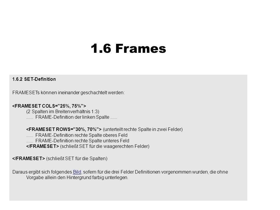 1.6.2 SET-Definition FRAMESETs können ineinander geschachtelt werden: (2 Spalten im Breitenverhältnis 1:3)...... FRAME-Definition der linken Spalte...