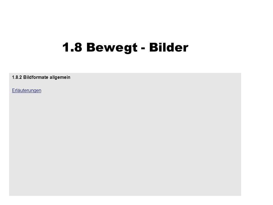 1.8.2 Bildformate allgemein Erläuterungen 1.8 Bewegt - Bilder