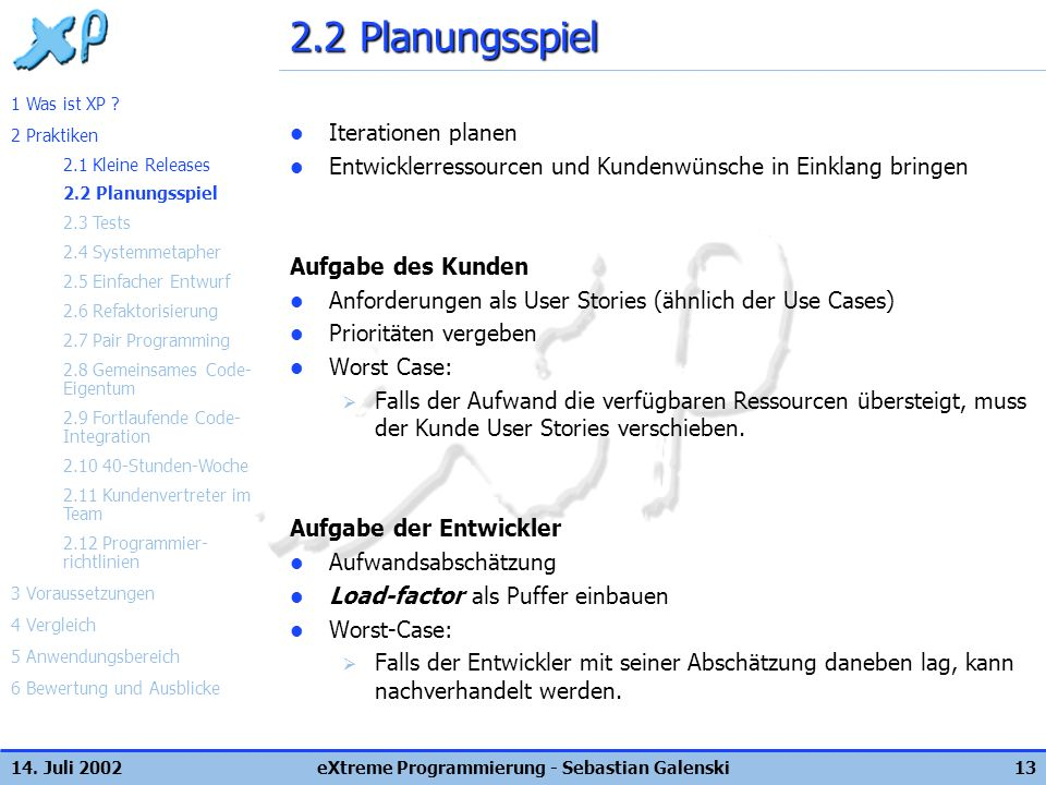 14. Juli 2002eXtreme Programmierung - Sebastian Galenski13 2.2 Planungsspiel Iterationen planen Entwicklerressourcen und Kundenwünsche in Einklang bri
