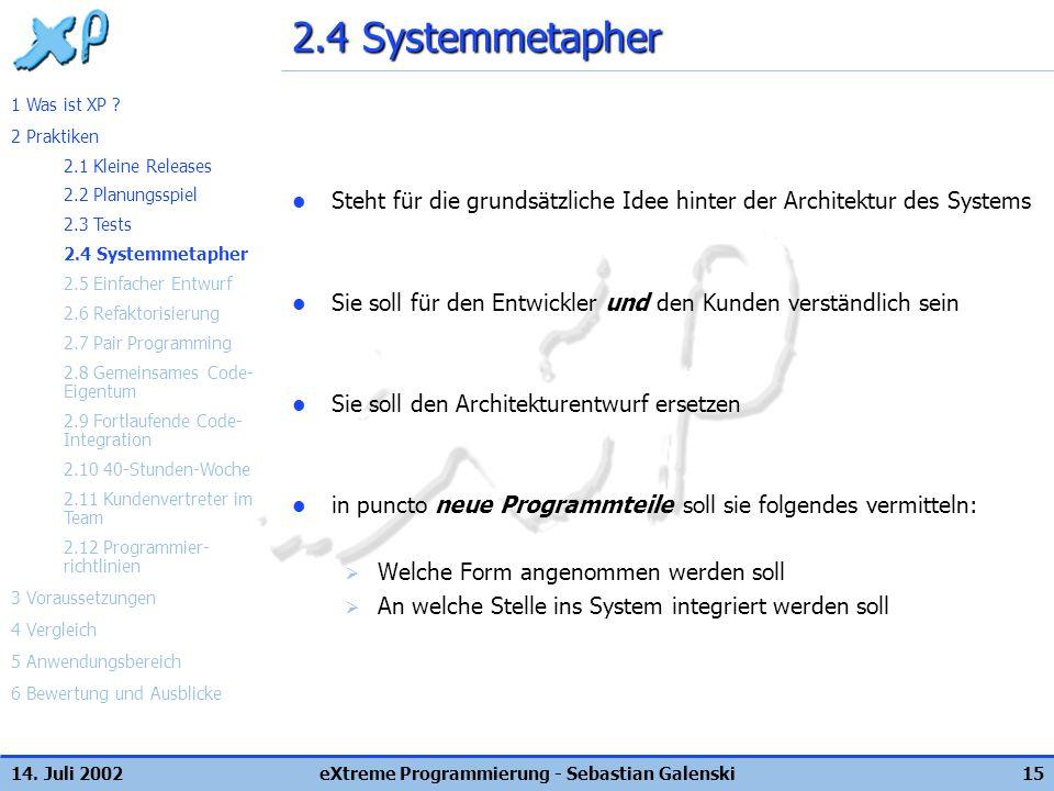 14. Juli 2002eXtreme Programmierung - Sebastian Galenski15 2.4 Systemmetapher Steht für die grundsätzliche Idee hinter der Architektur des Systems Sie