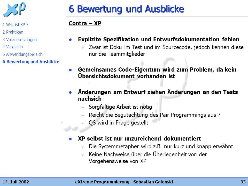 14. Juli 2002eXtreme Programmierung - Sebastian Galenski33 6 Bewertung und Ausblicke Contra – XP Explizite Spezifikation und Entwurfsdokumentation feh