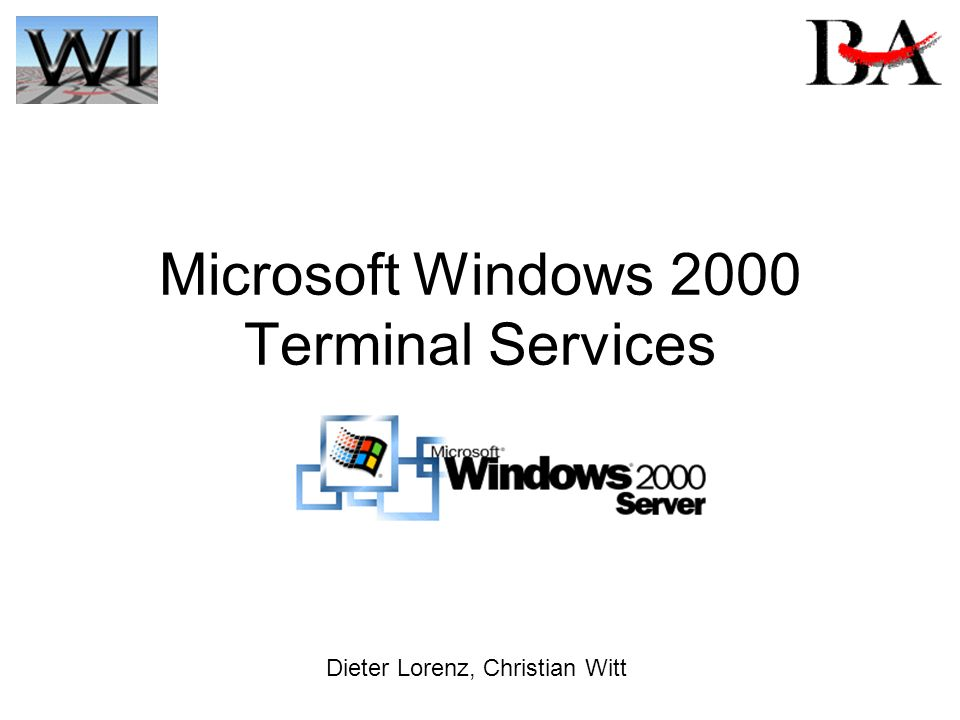 Microsoft Windows 2000 Terminal Services Dieter Lorenz, Christian Witt