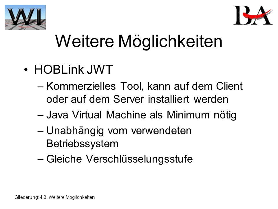 Weitere Möglichkeiten HOBLink JWT –Kommerzielles Tool, kann auf dem Client oder auf dem Server installiert werden –Java Virtual Machine als Minimum nötig –Unabhängig vom verwendeten Betriebssystem –Gleiche Verschlüsselungsstufe Gliederung: 4.3.