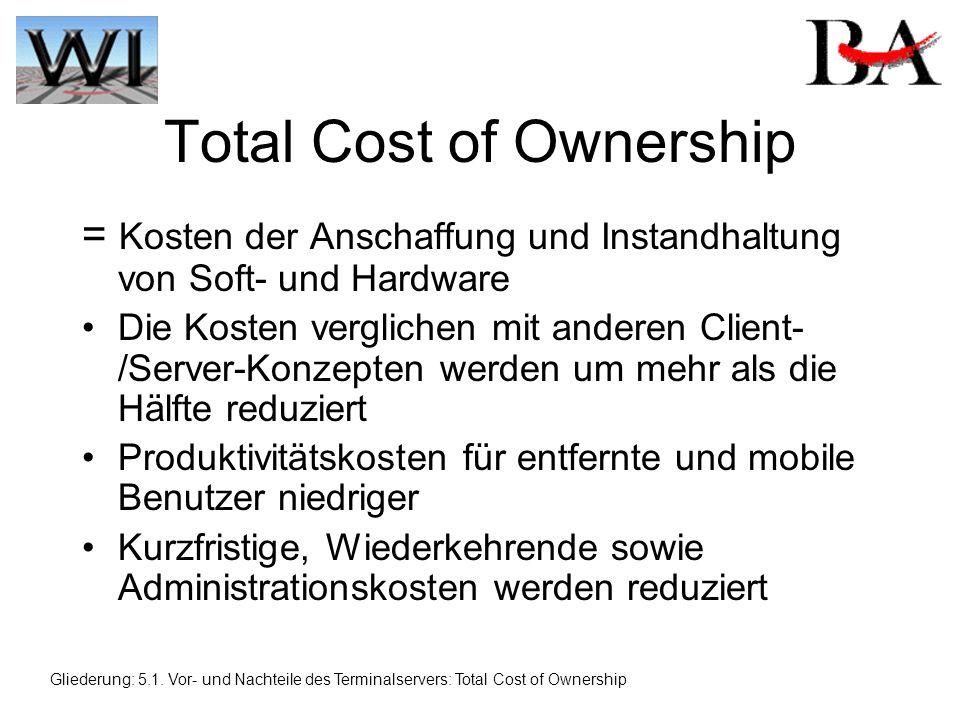 Total Cost of Ownership = Kosten der Anschaffung und Instandhaltung von Soft- und Hardware Die Kosten verglichen mit anderen Client- /Server-Konzepten werden um mehr als die Hälfte reduziert Produktivitätskosten für entfernte und mobile Benutzer niedriger Kurzfristige, Wiederkehrende sowie Administrationskosten werden reduziert Gliederung: 5.1.