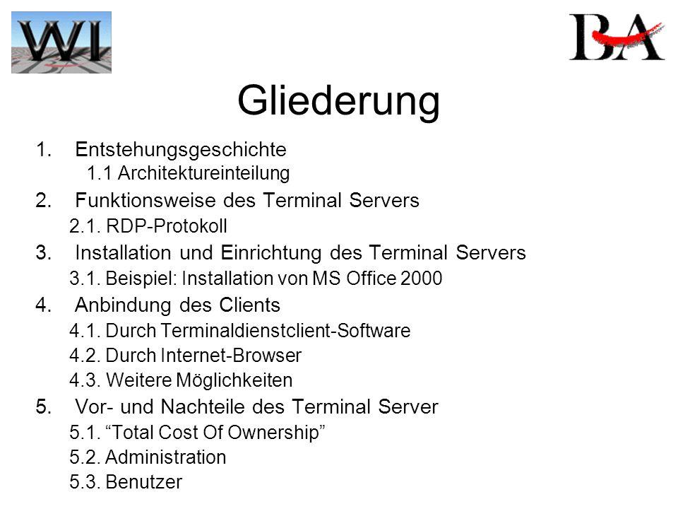 Entstehungsgeschichte 1993 Einführung von Windows NT 1994 Entwicklung Citrix WinFrame 1997 Microsoft lizenziert MultiWin 1998 Windows NT 4.0 TSE –Teile von Citrix werden in NT 4.0 TSE integriert 2000 Windows 2000 Terminal Services –Grundlage für Citrix Metaframe Gliederung: 1.