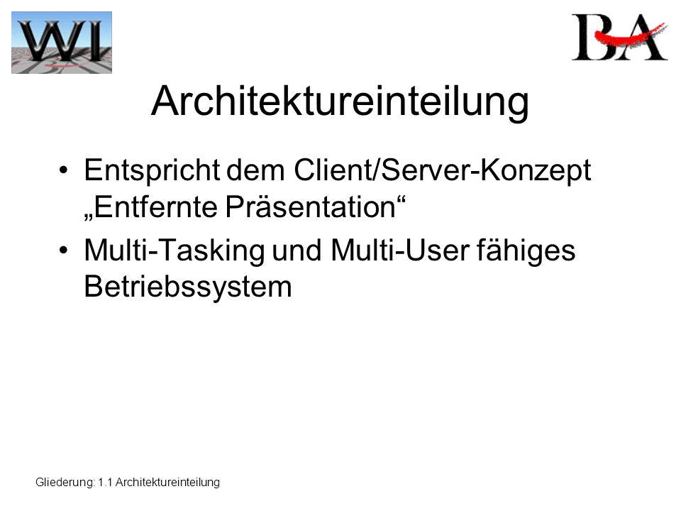 Architektureinteilung Entspricht dem Client/Server-Konzept Entfernte Präsentation Multi-Tasking und Multi-User fähiges Betriebssystem Gliederung: 1.1 Architektureinteilung