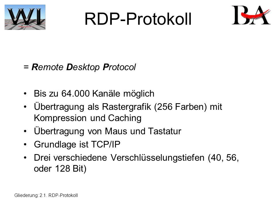 RDP-Protokoll = Remote Desktop Protocol Bis zu 64.000 Kanäle möglich Übertragung als Rastergrafik (256 Farben) mit Kompression und Caching Übertragung von Maus und Tastatur Grundlage ist TCP/IP Drei verschiedene Verschlüsselungstiefen (40, 56, oder 128 Bit) Gliederung: 2.1.