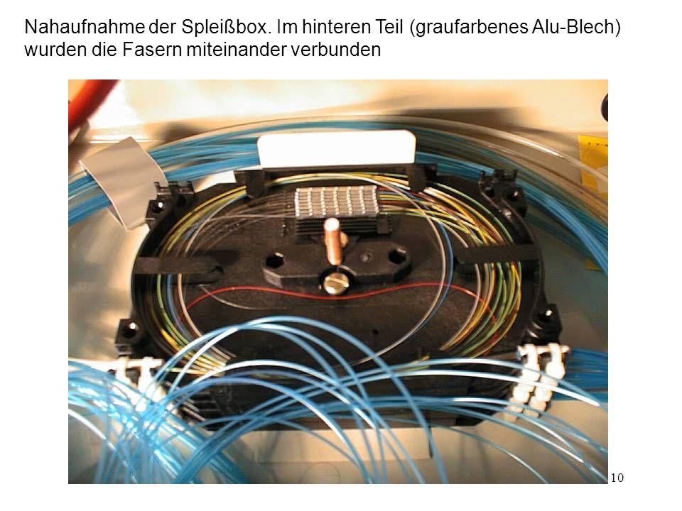 9 So sieht das Innere einer Spleißkassette aus Spleißbox Pigtailes