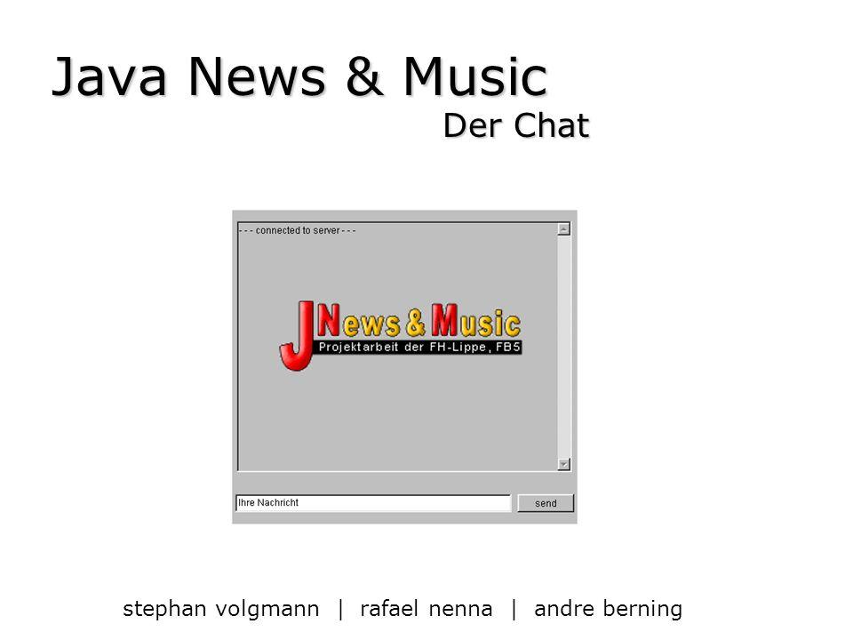 | Java News & Music | Die Verbindungen – Die Klasse usermanager Zuständig für Verbindungen zwischen den User Baut einen DataInputStream u.