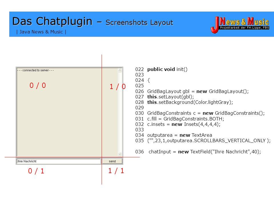 | Java News & Music | Das Chatplugin - Layout Probleme GridBagLayout Anforderungen