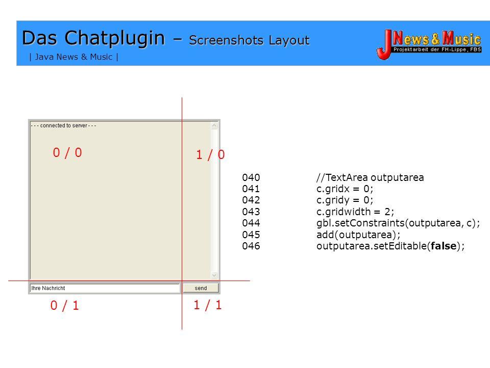 | Java News & Music | 0 / 0 1 / 0 0 / 1 1 / 1 Das Chatplugin – Screenshots Layout 022 public void init() 023 024 { 025 026 GridBagLayout gbl = new Gri