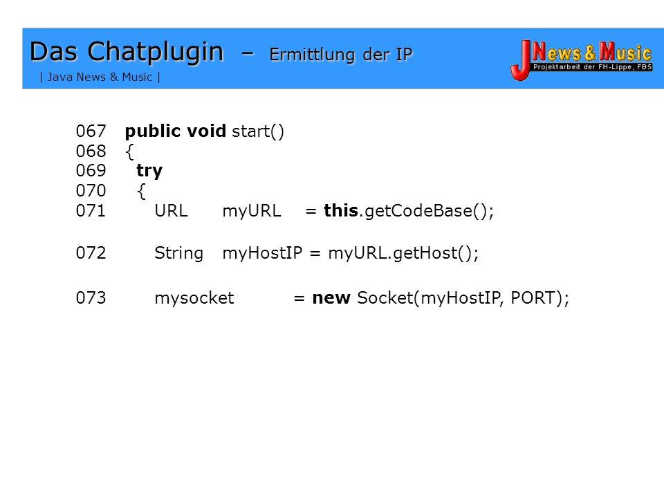 | Java News & Music | Socketverbindung Problem = IP des Hosts + Portnummer Das Chatplugin - Die Kommunikation