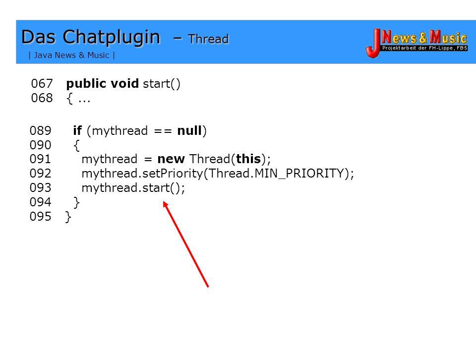 | Java News & Music | Das Chatplugin - Ablauf Einstieg in den Chat init() start()
