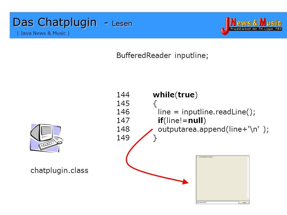 | Java News & Music | Das Chatplugin - Lauschen chatplugin.class Socketverbindung auf Port 5666