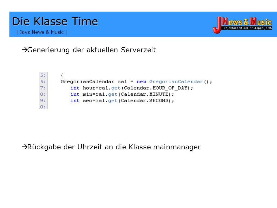 | Java News & Music | Die Verbindungen – Die Klasse usermanager Rückgabe der IP- Adresse Rückgabe der Chat- Nachrichten an die Methode allmembers