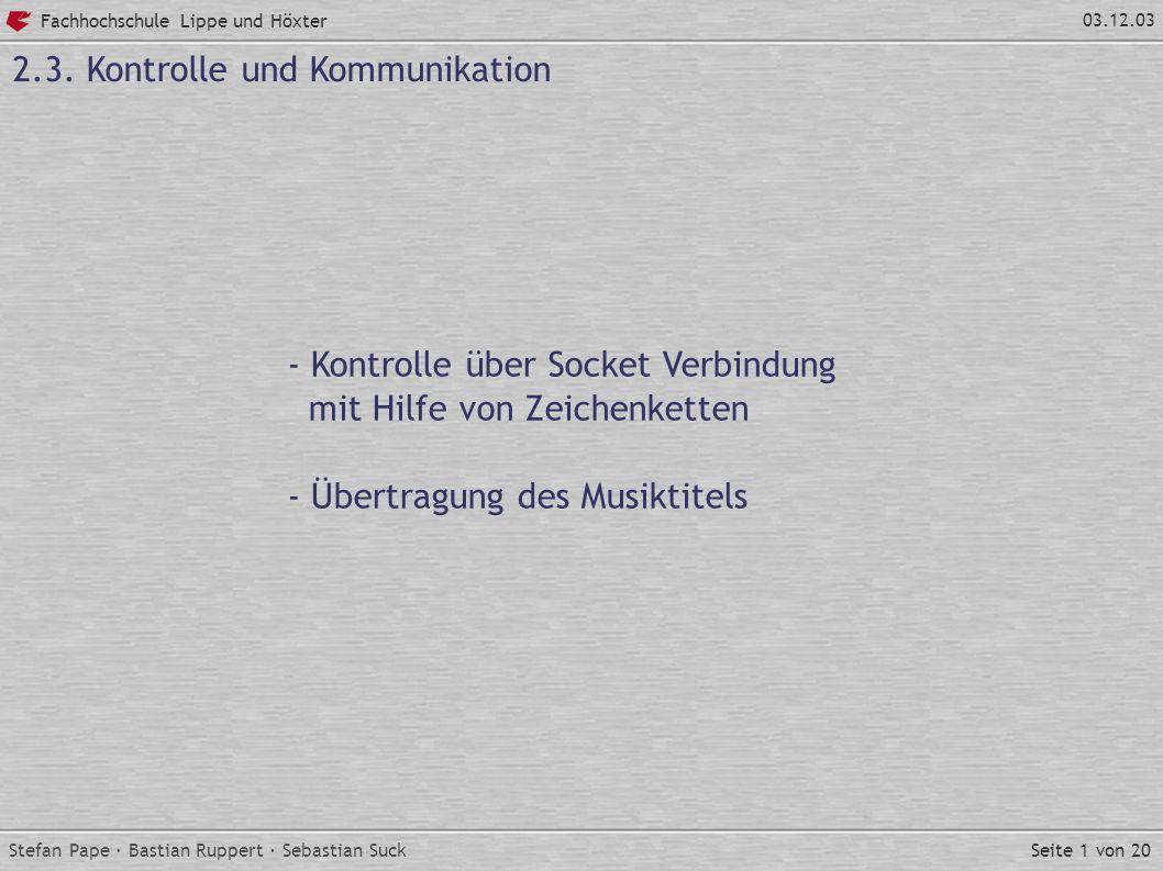 Seite 1 von 20 Fachhochschule Lippe und Höxter 03.12.03 2.3.