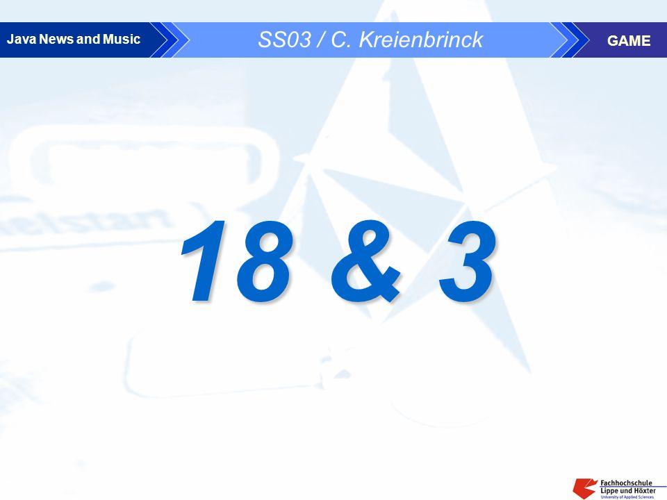 Java News and Music GAME 6 Programmcode 6.4 Game18u3M / Game18u3S · Erzeugen und Senden der Zufallszahlen - Master · Empfang der Zahlen - Slave - SPIELSTART: