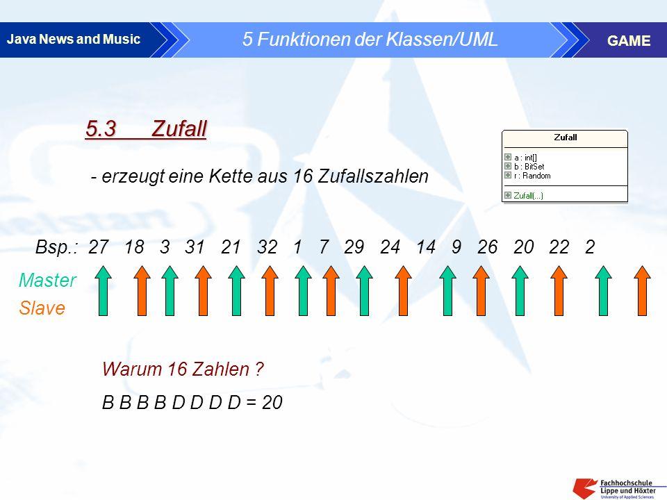 Java News and Music GAME 5 Funktionen der Klassen/UML 5.3 Zufall - erzeugt eine Kette aus 16 Zufallszahlen Bsp.: 27 18 3 31 21 32 1 7 29 24 14 9 26 20 22 2 Master Slave Warum 16 Zahlen .