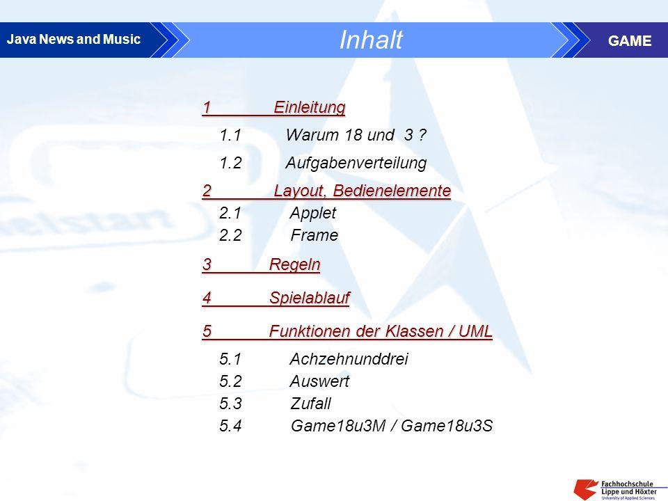 Java News and Music GAME Inhalt 3 Regeln 4Spielablauf 2.1 Applet 2.2 Frame 2 Layout, Bedienelemente 1.1 Warum 18 und 3 .