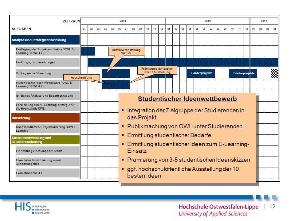 | 12 ZEITRAUM AUFGABEN Analyse und Strategieentwicklung Umsetzung Erweitertes Qualifizierungs- und Supportangebot Vortragsreihe E-Learning Strukturent