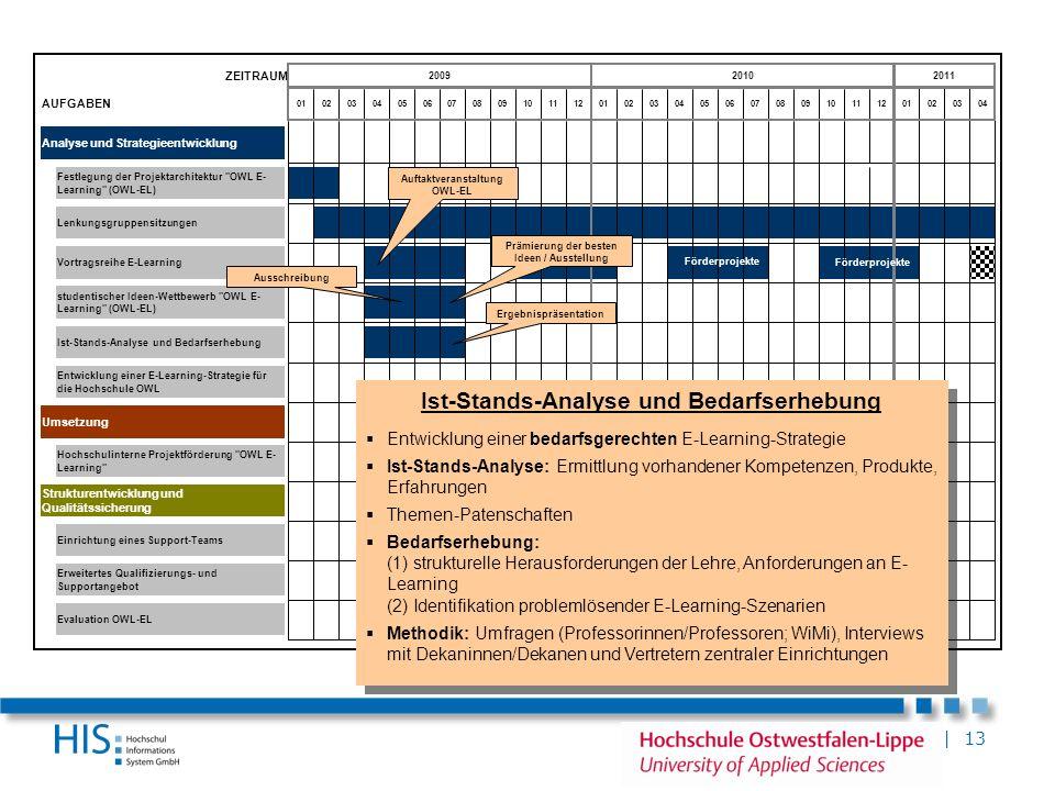 | 13 ZEITRAUM AUFGABEN Analyse und Strategieentwicklung Umsetzung Erweitertes Qualifizierungs- und Supportangebot Vortragsreihe E-Learning Strukturent