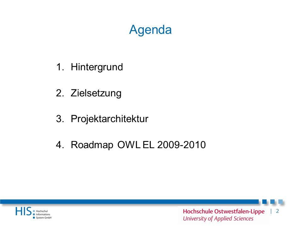 | 2 Agenda 1.Hintergrund 2.Zielsetzung 3.Projektarchitektur 4.Roadmap OWL EL 2009-2010