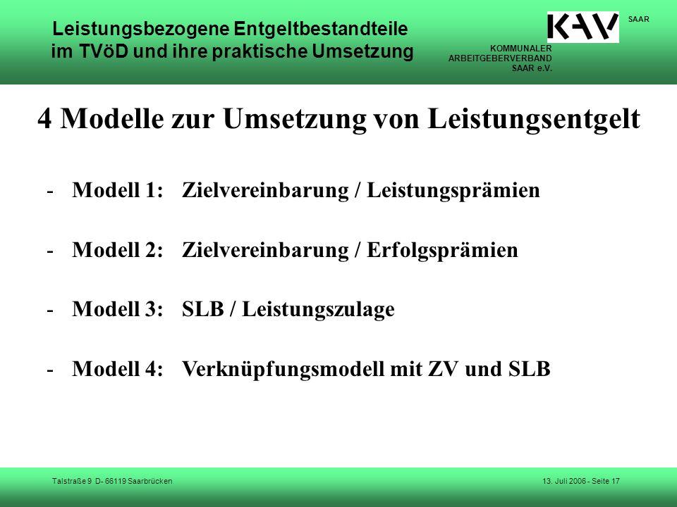 KOMMUNALER ARBEITGEBERVERBAND SAAR e.V. Talstraße 9 D- 66119 Saarbrücken SAAR 13. Juli 2006 - Seite 17 Leistungsbezogene Entgeltbestandteile im TVöD u