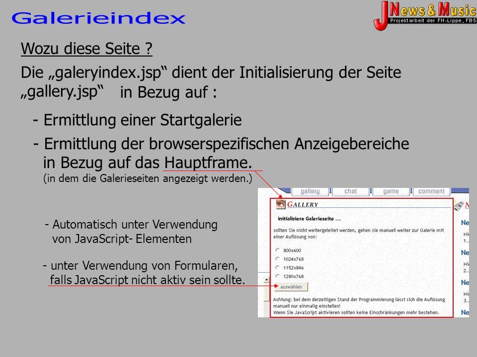 Wozu diese Seite ? Die galeryindex.jsp dient der Initialisierung der Seite gallery.jsp in Bezug auf : - Ermittlung einer Startgalerie - Ermittlung der