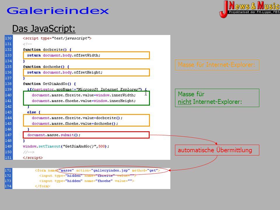 Das JavaScript: Masse für Internet-Explorer: Masse für nicht Internet-Explorer: automatische Übermittlung