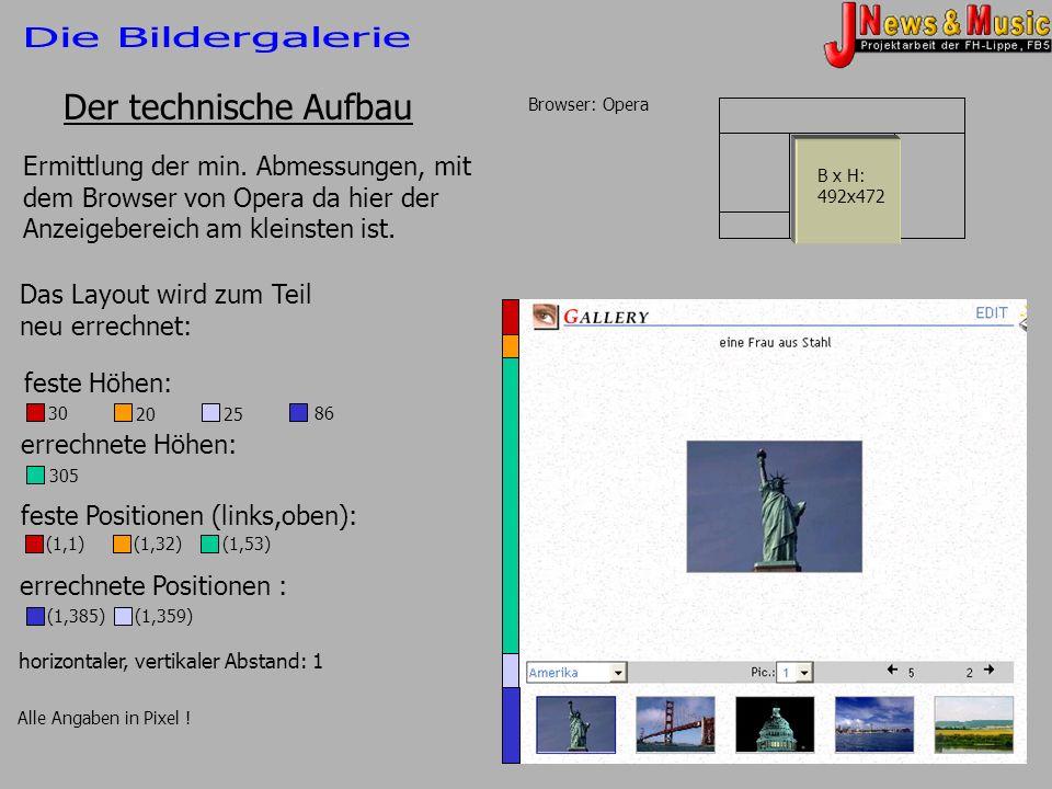 Der technische Aufbau Browser: Opera Ermittlung der min. Abmessungen, mit dem Browser von Opera da hier der Anzeigebereich am kleinsten ist. 492x472 B