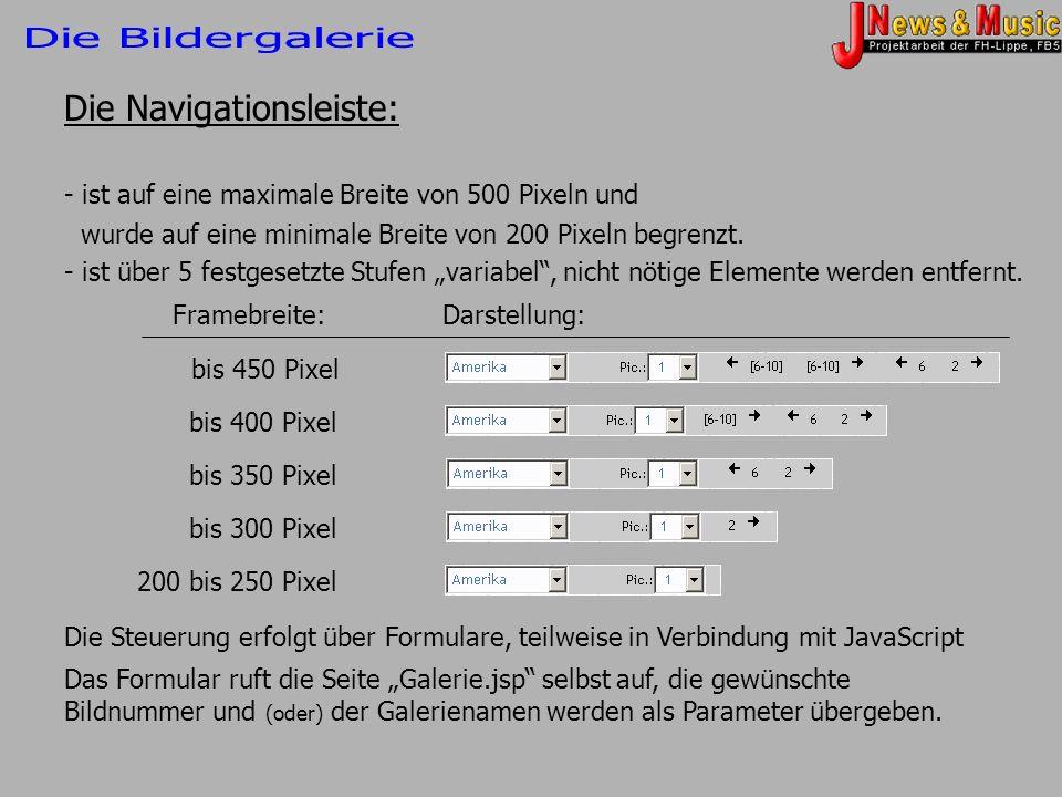 Die Navigationsleiste: - ist auf eine maximale Breite von 500 Pixeln und wurde auf eine minimale Breite von 200 Pixeln begrenzt. - ist über 5 festgese