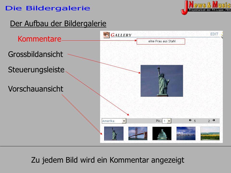 Kommentare Grossbildansicht Steuerungsleiste Vorschauansicht Der Aufbau der Bildergalerie Zu jedem Bild wird ein Kommentar angezeigt