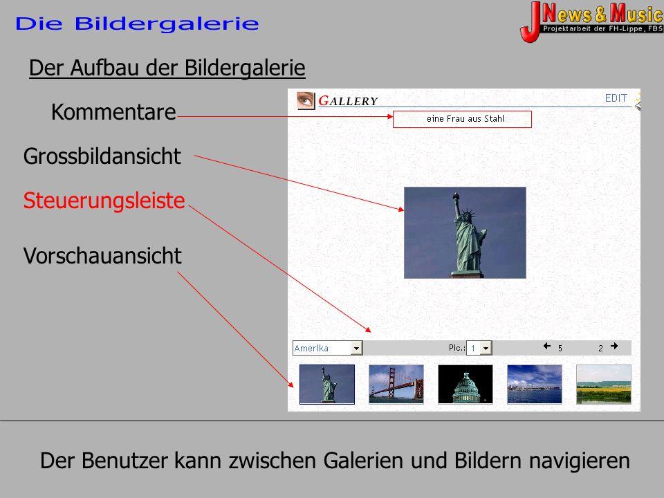 Kommentare Grossbildansicht Steuerungsleiste Vorschauansicht Der Aufbau der Bildergalerie Der Benutzer kann zwischen Galerien und Bildern navigieren
