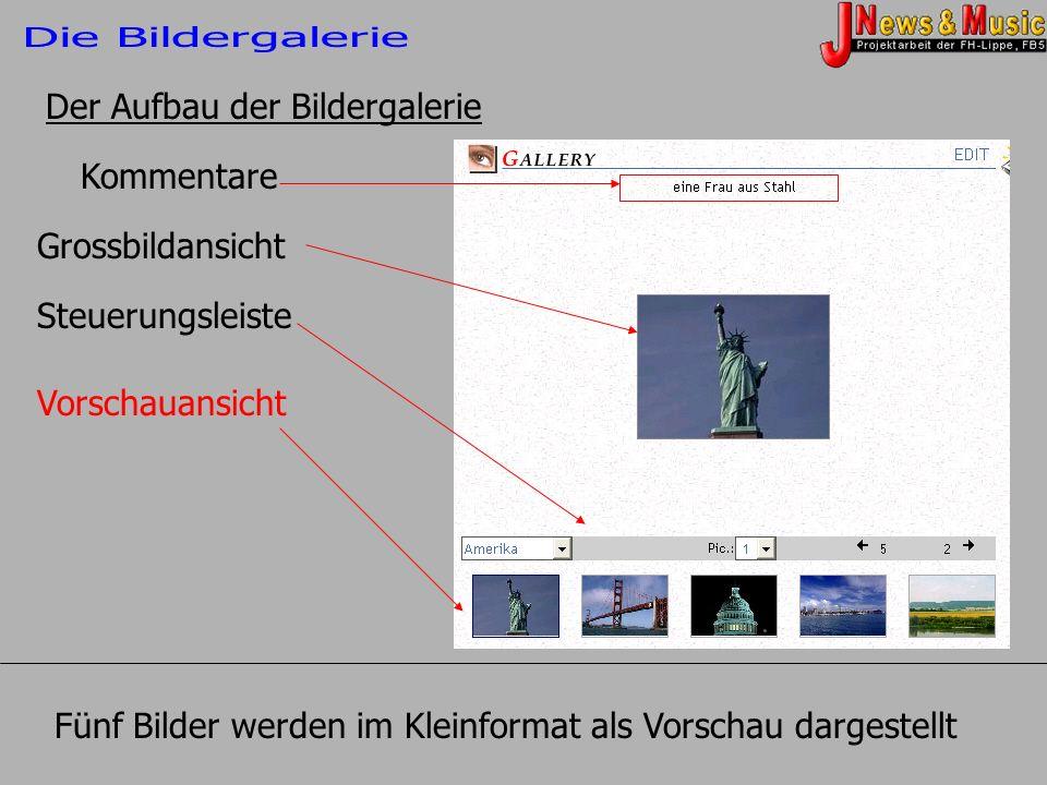 Kommentare Grossbildansicht Steuerungsleiste Vorschauansicht Der Aufbau der Bildergalerie Fünf Bilder werden im Kleinformat als Vorschau dargestellt