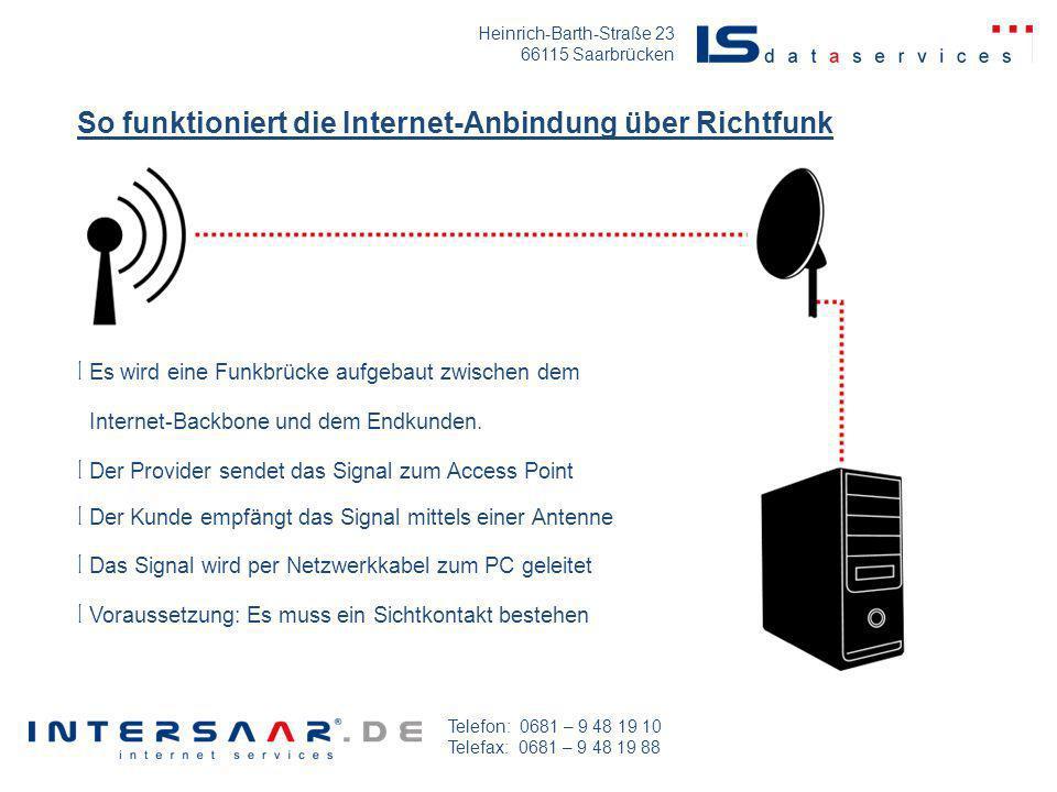 Heinrich-Barth-Straße 23 66115 Saarbrücken Telefon: 0681 – 9 48 19 10 Telefax: 0681 – 9 48 19 88 l Internet-Backbone und dem Endkunden. l Der Kunde em