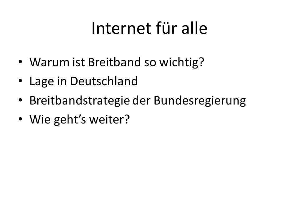 Internet für alle Warum ist Breitband so wichtig? Lage in Deutschland Breitbandstrategie der Bundesregierung Wie gehts weiter?