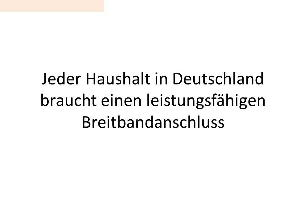 Jeder Haushalt in Deutschland braucht einen leistungsfähigen Breitbandanschluss