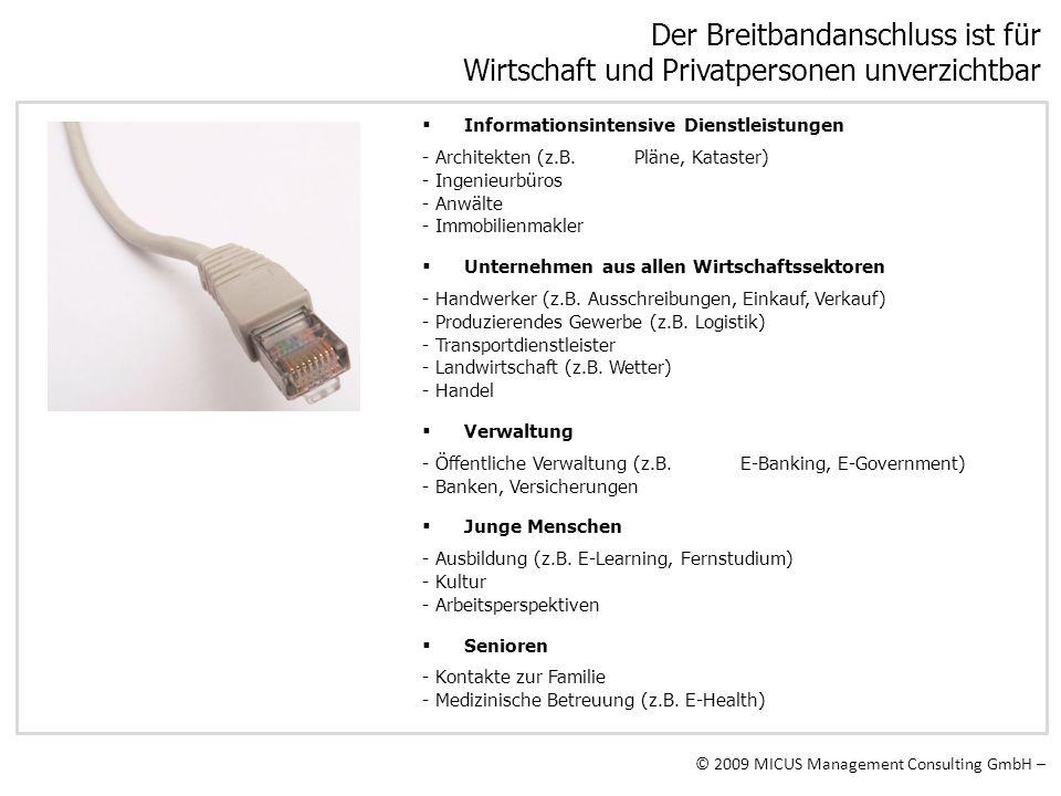 © 2009 MICUS Management Consulting GmbH – Der Breitbandanschluss ist für Wirtschaft und Privatpersonen unverzichtbar Informationsintensive Dienstleist